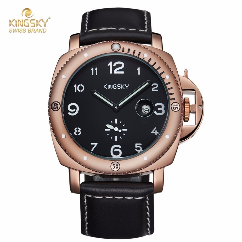 KINGSKY Top Brand Men Watch Casual PU Leather Strap Analog Display Date Men's Quartz Watches relogio masculino 2017 New 2017 new o t sea brand fashion men blue ray glass leather watch casual quartz analog watches relogio masculino w046