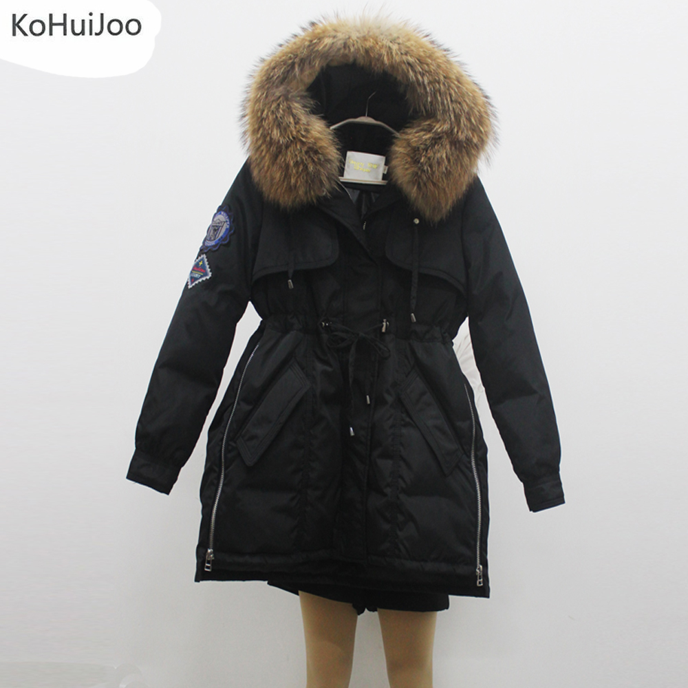 KoHuiJoo Winter Jacket Women Coats Hooded Real Large Raccoon Fur Collar Female Parka Green Thick Cotton Padded Jackets Female furlove new real large raccoon fur winter coat women jacket coats collar thicken warm padded cotton lady parkas female jacket