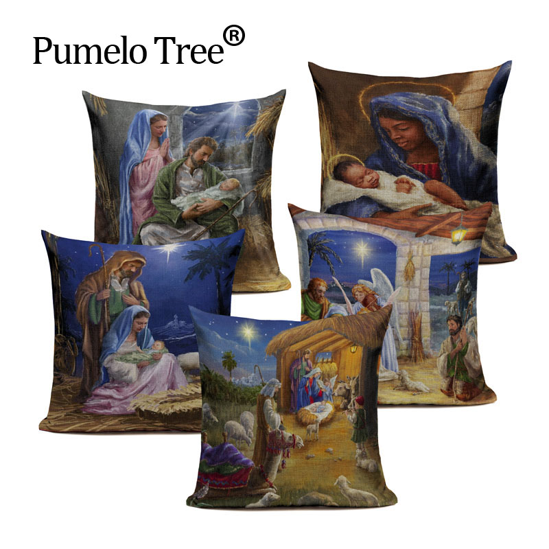 Oil painting World famous Mary Jesus The girl with the pearl Printed throw pillow cushion cover case for sofa home Dropshipping