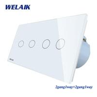 WELAIK Brand manufacturer 2Frame Crystal Glass Panel Wall Switch EU Touch Switch Light Switch 2gang1way AC110~250V A292121CW/B