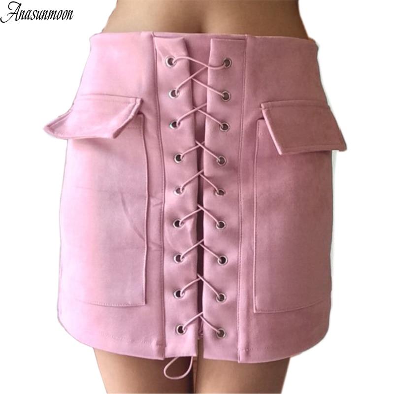 Mini Skirt Split Lace-Up Cross Suede Zipper Bodycon Vintage Winter Autumn High-Waist