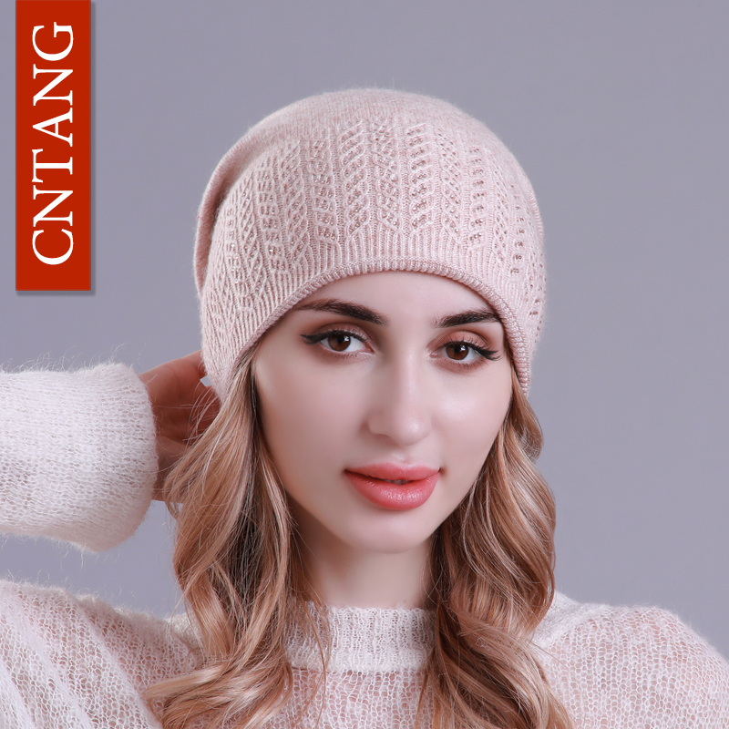 CNTANG Winter Knitted Wool Hats For Women Warm Casual   Skullies     Beanies   With Rhinestones Caps Female Autumn Brand Fashion Hat