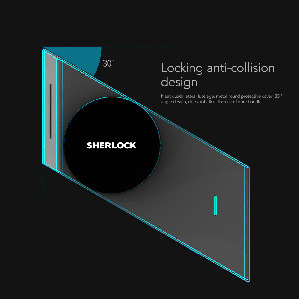 Sherlock S2 argent empreinte digitale + mot de passe Smart Stick Lock Smart porte serrure Bluetooth sans fil ouvrir ou fermer la porte par APP Control