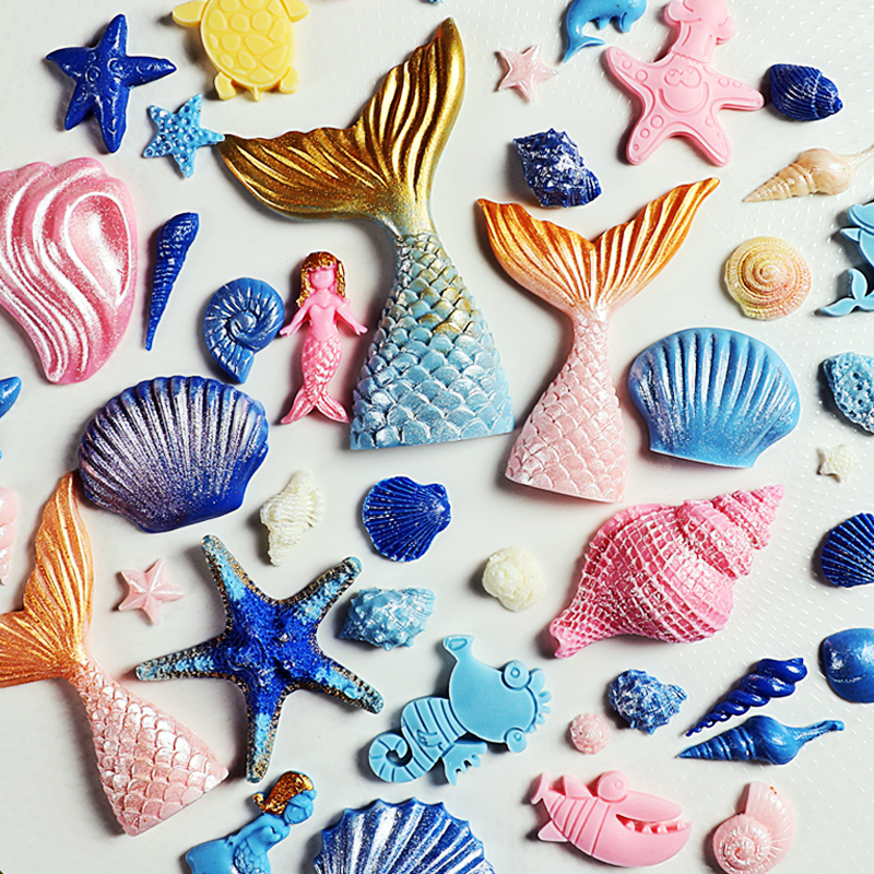 SHENHONG 3D Mermaid Tail Silicone Fondant Molds Shell Starfish Soap Mold Cake Decoration Tools Sugar Craft Candle Moulds DIY