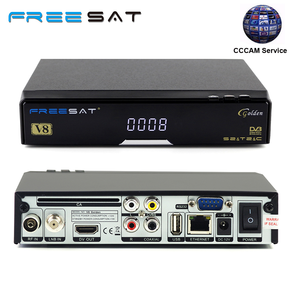 Freesat V8 Golden COMBO IPTV Satellite Receiver with one 1 year Europe cccam clines server Support DVB-S2/T2/C for Spain Italy