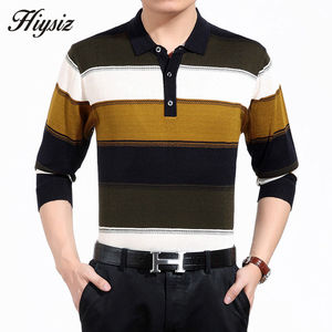 Image 3 - High Quality Cashmere Wool Sweater Men Famous Brand Clothing  Business Fashion Big Striped Turn down Collar Pullover Homme 66127