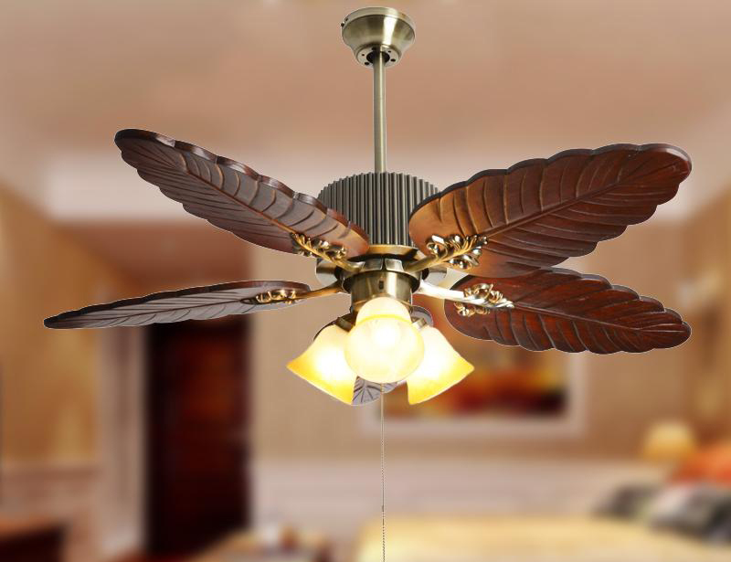Modern American Style Wood Palm Leaf Ceiling Fan Light