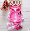 2016 Mais Novo Primavera Meninas Bebê Minnie Ternos Coreano Crianças Casuais de Algodão Com Capuz Casaco + Calças 2 Pcs Ternos Infantil/recém-nascidos Roupas Ternos
