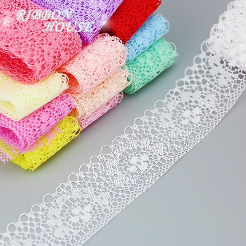 (Мм 5 ярдов/рулон) 40 мм белый кружевной ткани тесьма украшения любовь подарок упаковка материал рулонов