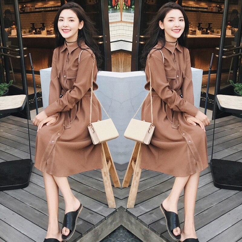 Haute qualité printemps nouveau style coréen adolescent couleur Pure taille haute cravate en mousseline de soie Pure et confortable Vintage longue a-ligne robe
