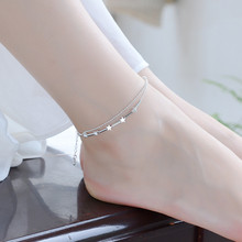 TJP 2018 Hot  Girl 925 Silver Bracelets Jewelry Charm Anklets For Women Wedding Bijou Double Layer Star Balls