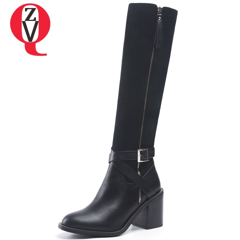 ZVQ hot sale winter outside warm genuine leather shoes women fashion metal chain zip round toe high square heel knee high boots zvq 2018 winter hot sale new fashion square toe zipper high square heel genuine leather women ankle boots outside warm shoes