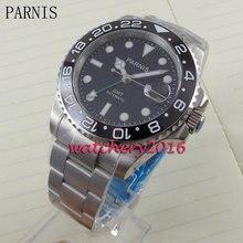 ใหม่ 40mm Parnis Black dial BEZEL เครื่องหมายสีขาว Sapphire Glass Auto วันที่ GMT อัตโนมัติผู้ชายธุรกิจนาฬิกา