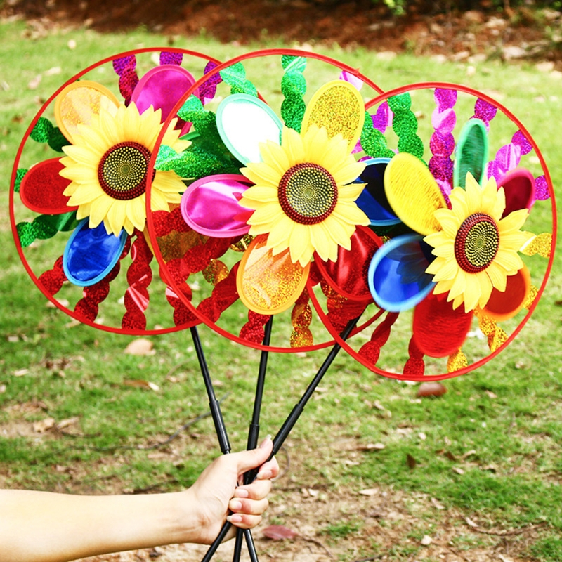 OOTDTY Colorful Sunflower Windmill Wind Spinner Home Garden Yard Decoration Kids Toy