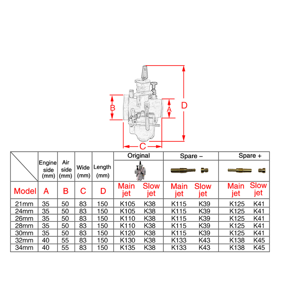 Image 2 - Alconstar  21 24 26 28 30 32 34mm Motorcycle Carburetor with Power Jet for Keihin PWK KOSO OKO 75CC 250CC 2T/4T Engine for KTM-in Carburetor from Automobiles & Motorcycles