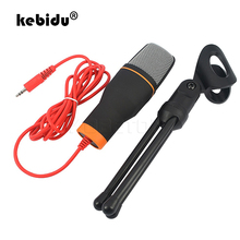 kebidu Hot Wired Stereo Condenser Sound Podcast Studio Microphone with Holder Clip for Chatting Singing Karaoke PC Laptop SF 666