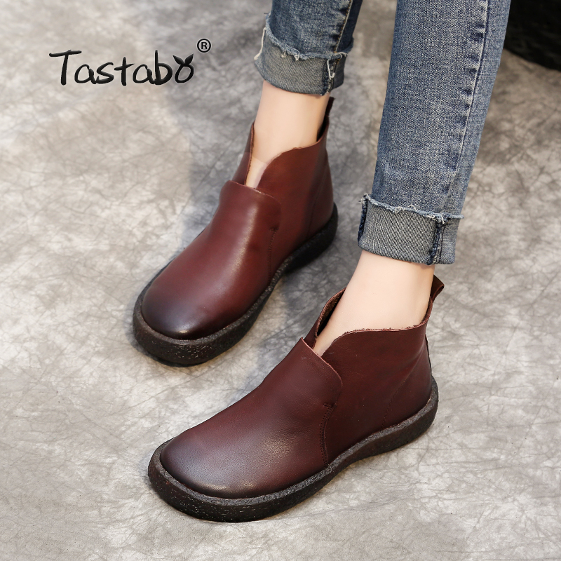 Tastabo Handmade Ankle Boots Slip on Retro Boots Shoes Women Fashion Soft Genuine Leather Martin Boots