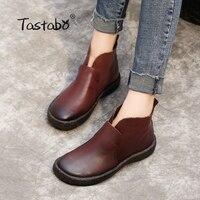Tastabo/ботильоны ручной работы без шнуровки в стиле ретро, модные женские Ботинки martin из мягкой натуральной кожи