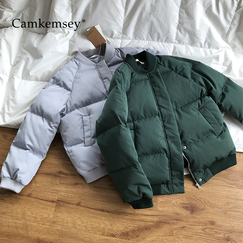 CamKemsey Women   Parkas   2018 New Casual O-Neck Warm Down Cotton Padded Bomber Jackets Women Thicken Short Winter Coats