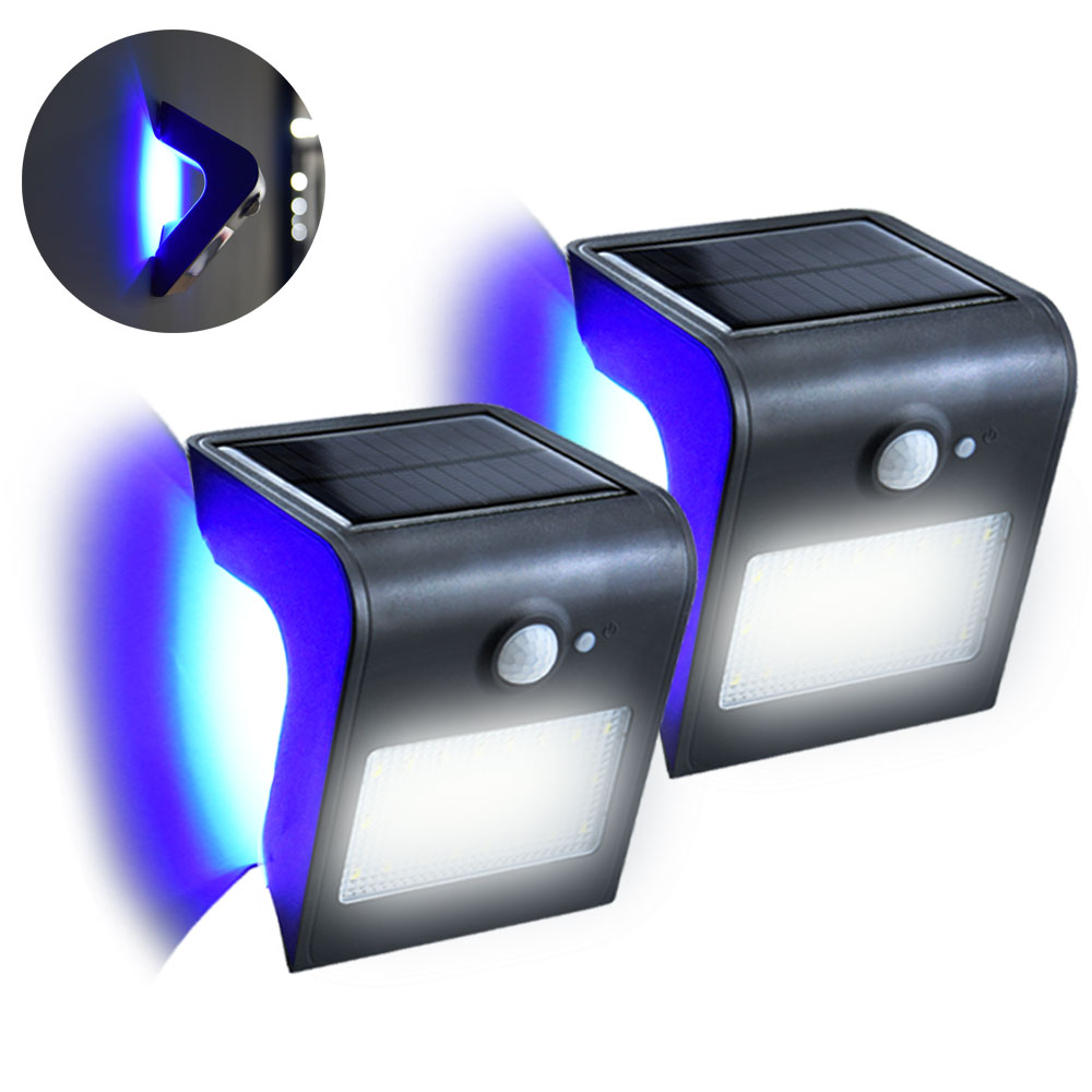 24 LED Outdoor Solar Motion Sensor Lights Waterproof Wireless Garden LED Path RGB Wall Night Light Blue Backlight Security Lamps ...