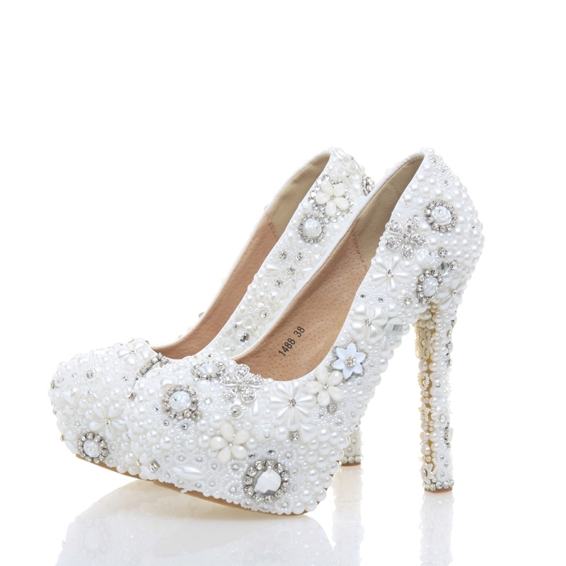 White Color Lady High Heels Beautiful Wedding Party Bride Shoes White Pearl with Rhinestone Party Prom Shoes Plus Size 11 bride wedding shoes 2018 chunky heel banquet party shoes fashion white pearl prom high heels pointed toe lady pumps size 41