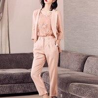 Suits Women Three Pieces Set 100% Linen Fabric Suit Embroidery Vest Ankle length Pants Simple Design New Elegant Style 2018