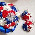Роскошные свадебные аксессуары Жених Цветок Пром Брошь Бутоньерка Корсажи Атласные Розы кристалл стразы невесты ювелирные изделия