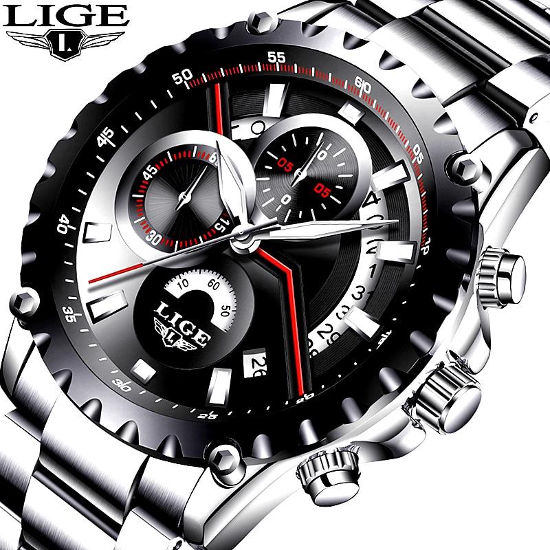 2017 Nouvelle Mode LIGE Mens Montre Hommes Complet Steel Business Watch Date Chronographe À Quartz-montre Mâle Cadeaux Horloge Relogio masculino