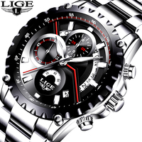 2017 New Fashion LIGE Mens Watch Men Full Steel Business Watch Date Chronograph Quartz Watch Male