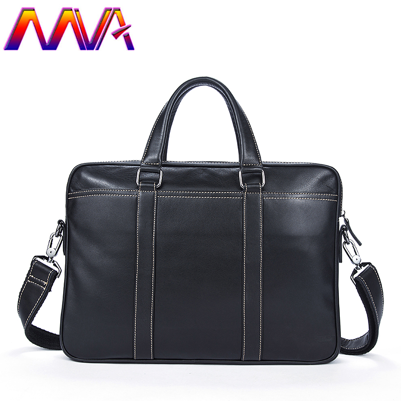 Free Shipping Black Newly Genuine Leather Men Briefcase For Business Male Handle Computer Bag Of Cow Leather Men Briefcase