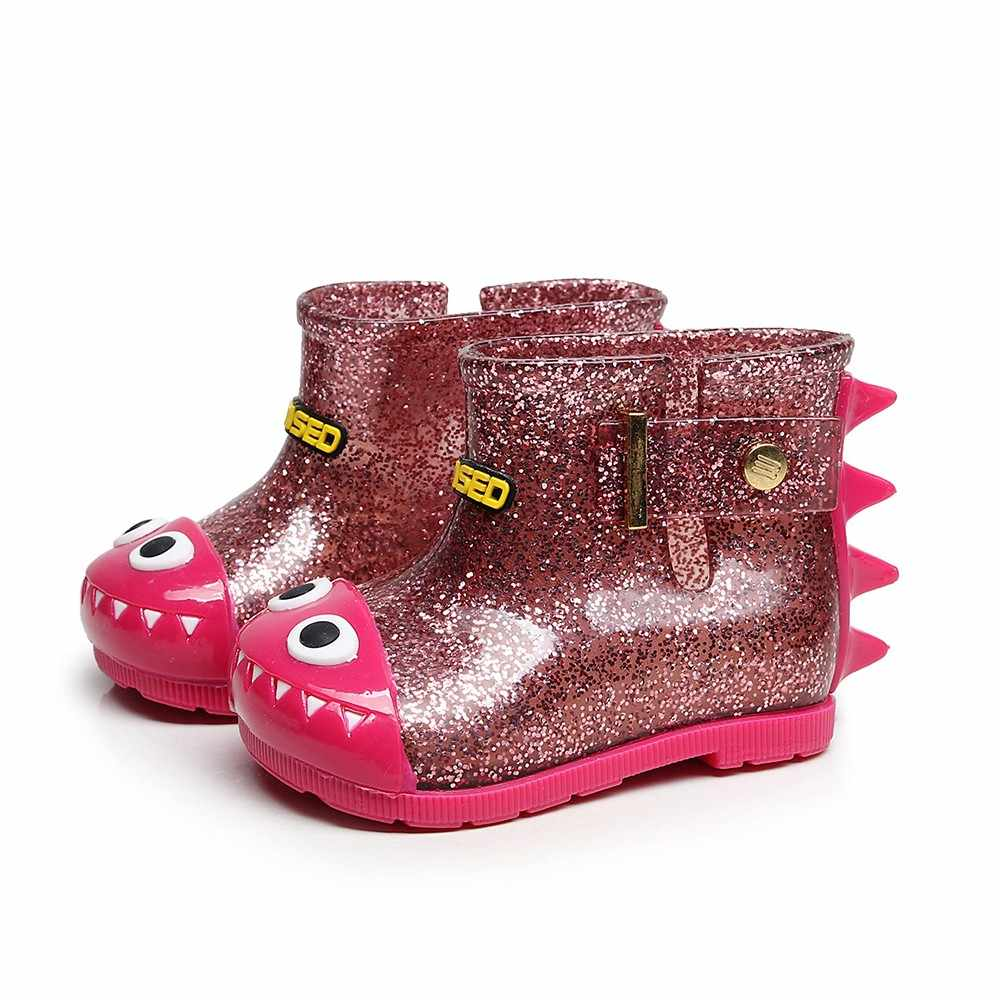 Детские непромокаемые сапоги для детей; теплые водонепроницаемые сапоги до колена; детские непромокаемые сапоги с рисунком динозавра; #7