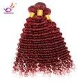 Caliente venta rojo burdeos rizada profunda del pelo humano virginal brasileño rizado del pelo 99J 2 unids/lote pelo rojo humano bundles envío gratis