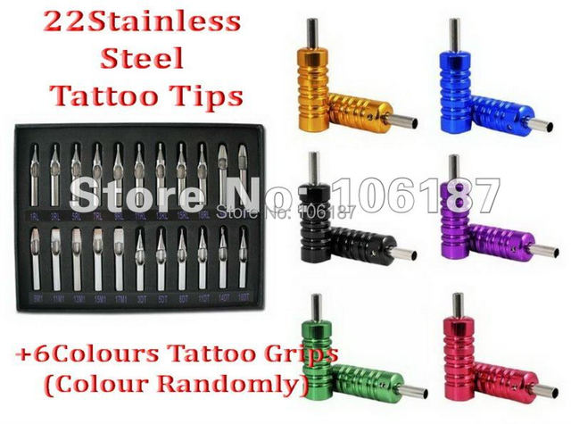 6Pcs Assorted Colour Tattoo Aluminium Alloy Grips +Pro 22PCS Lot Stainless Steel Tattoo Nozzles Tips Mixed Liner Shader Set Kit
