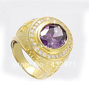 Image 2 - 925 sterling top grade zirkonia bischof ring 2016 mode luxus crytal Mann ring kühlen finger ring für mann