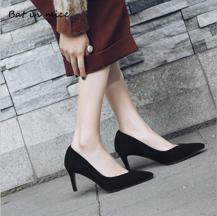 High quality Casual Heels Women Shoes Leather Pumps Office Lady Pointed Toe Flock Sexy High Heels Wedding Party Shoes Mujer W088