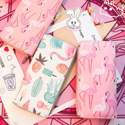 Girls Women cute wallet Lady PU Leather Clutch Wallet fruit flamingo strawberry pattern Long Card Holder Purse Box Handbag Bag стоимость