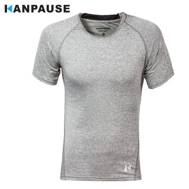 New Arrival KANPAUSE Men's Tights T-shirts Short Sleeve Compression Fitness Training T-shirt Sportswear