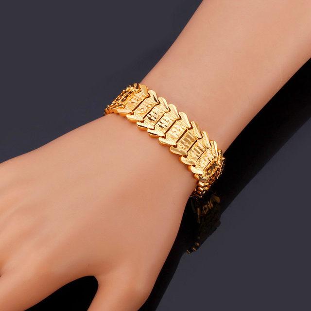 Mens Bracelets Christmas Gift Gold Color Flower 20cm Trendy Bracelet Men Jewelry Dubai H148