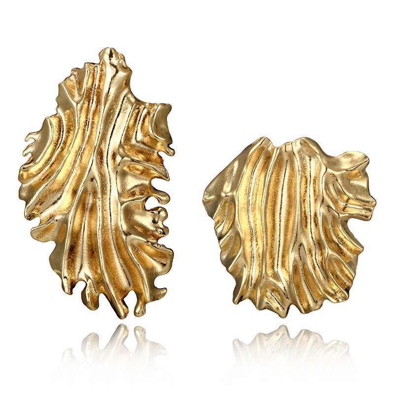 docona Trendy Gold Color Irregular Fold Leaf Drop Earring for Women Punk Large Curved Geometric Pendant Earrings Brincos 4259