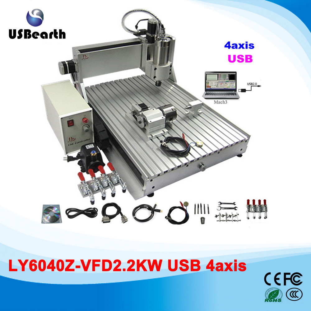 Desktop CNC wood carving machine cnc 6040 4 axis USB metal milling engraver lathe 110 220v 1500w 4 axis metal milling machine cnc 6040 with limit switch for metal wood cutting