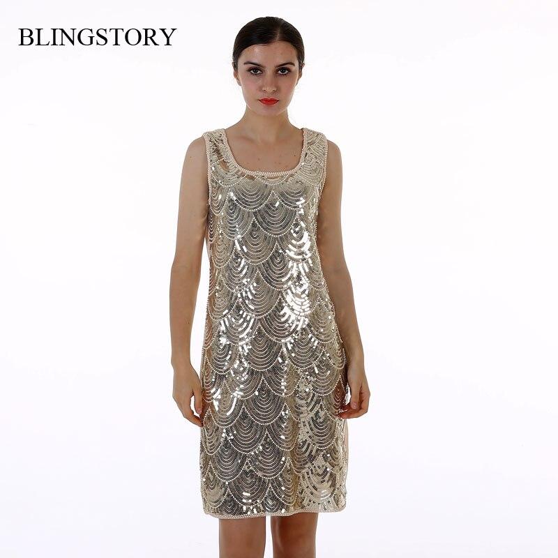 38cdd1e72 BLINGSTORY عالية الجودة السيدات clubwear الصيف BLING-BLING شىء صغير براق  الترتر فساتين السهرة حزب