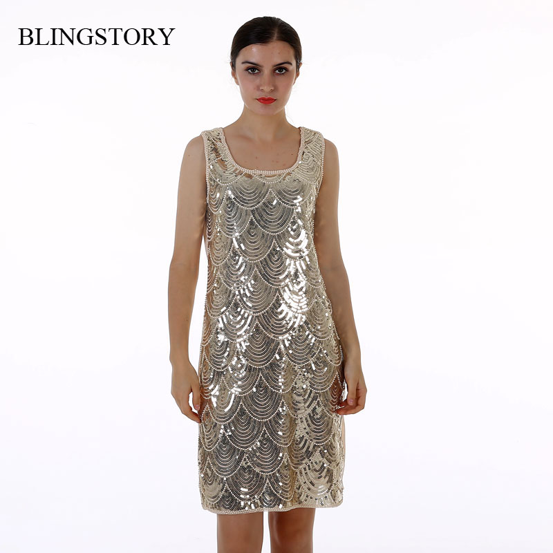 Buy Cheap BLINGSTORY High quality ladies summer BLING BLING Paillette Sequin dresses evening party vestido de festa