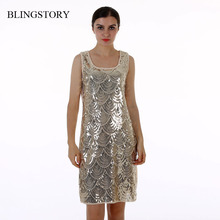 BLINGSTORY High quality ladies summer BLING BLING Paillette Sequin dresses evening party vestido de festa