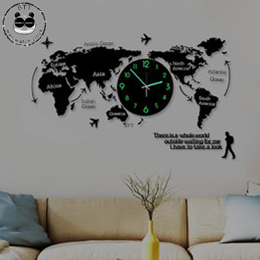 3D Large Wall Map Clocks World Map Clock Modern Glowing In Dark Unique Silent Mute Watches Wall Clocks For Living Meeting Room