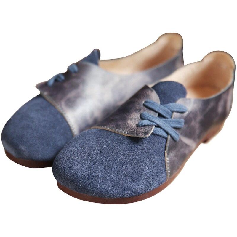 100% QualitäT Frauen Einzelne Schuhe Mode Top Schicht Rindsleder Side Strap Flache Schuhe Sen Runde Kopf Bequemen Frauen Schuhe.