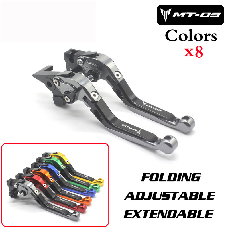 For YAMAHA MT-03 MT03 MT 03 2005-2009 Motorcycle Accessories CNC Folding Extendable Brake Clutch Levers LOGO MT-03 for gilera gp 800 2007 2009 motorcycle accessories cnc aluminum folding extendable brake clutch levers black