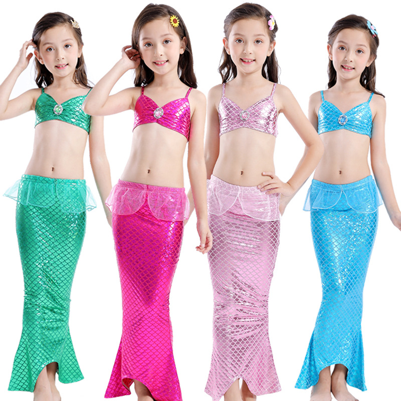 New Arrive Kids Mermaid Tail Costume Cosplay Fancy Dress Swimmable Bikini Set  Bathing Suit Costume For Girls