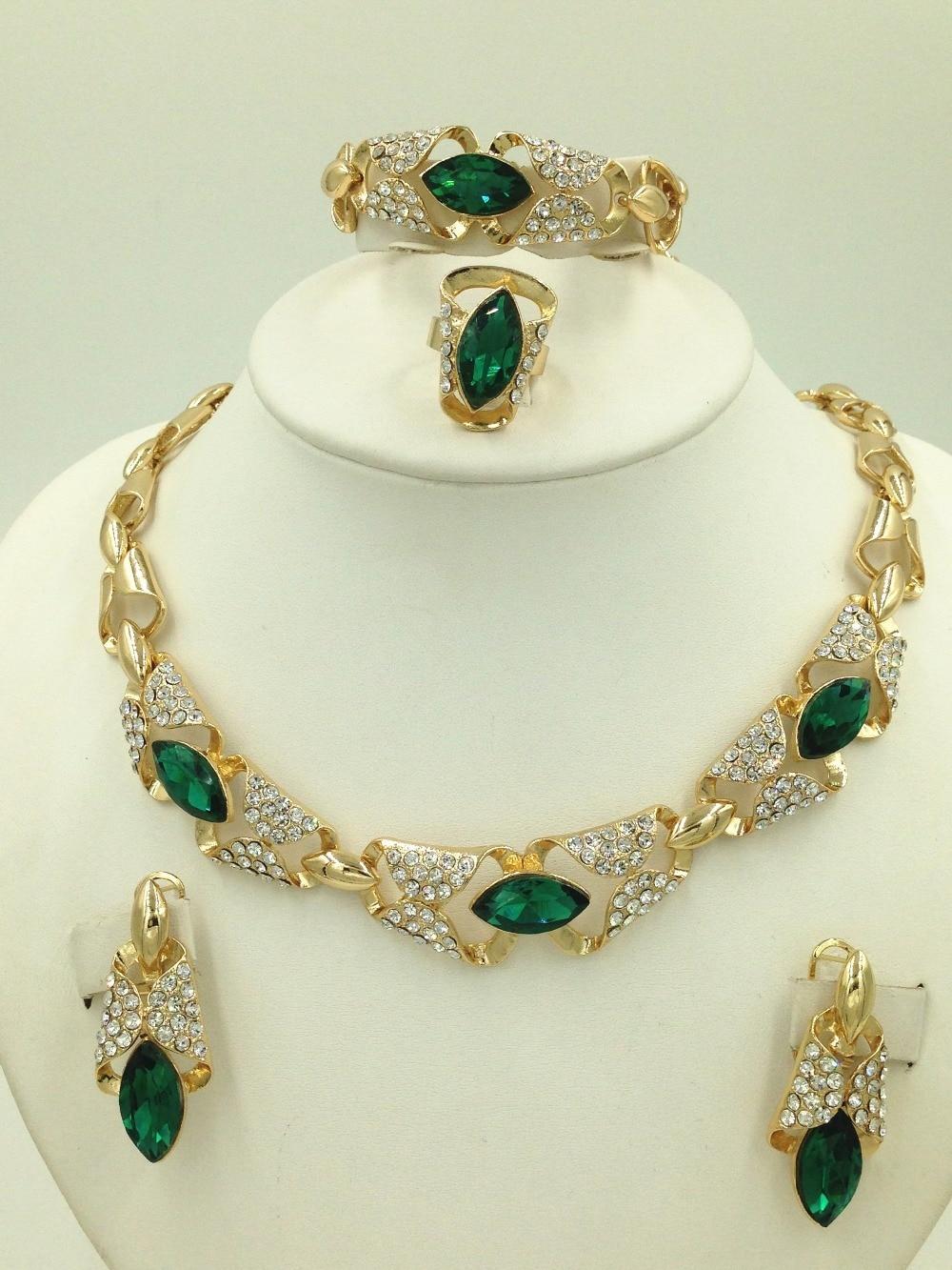 2015 Gorgeous Green Austrian Crystal Necklace Set Dubai Gold Plated
