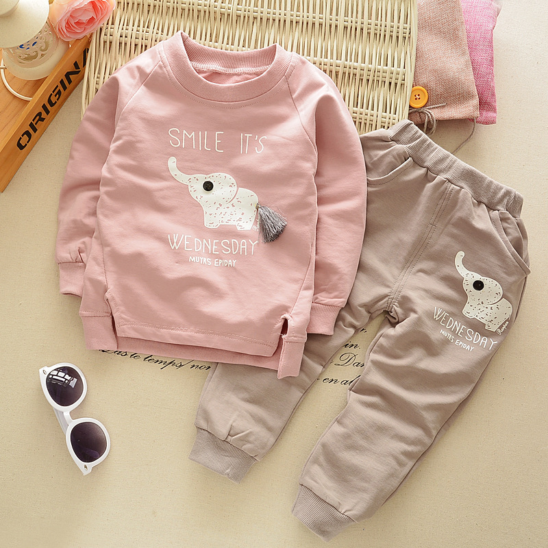 New Spring Autumn Childrens Clothing Cartoon Elephant Cotton Cute Pattern Boys Girls Pullover T-Shirt+Pants Childrens Sets ...