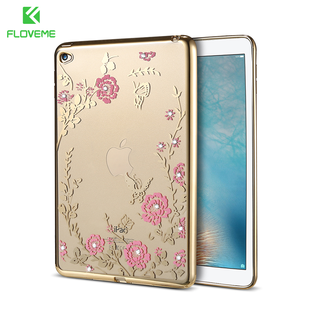 FLOVEME Glitter Rhinestone Case For iPad Air 2 Tablet Cases Luxury Ultra Thin Soft TPU Rubber Bling Coque Cover For iPad 6 Air 2